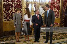 King Felipe VI of Spain (R) and Queen Letizia of Spain (L) receive King Abdullah of Jordan (2R) and Queen Abdullah of Jordan (2L) for a lunch at the Royal Palace on November 20, 2015 in Madrid, Spain.