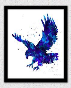 Eagle print blue eagle print bold eagle art by FluidDiamondArt