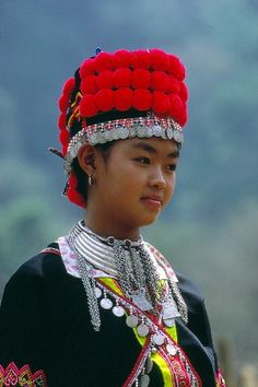 Asia | Portrait of a Meo woman with traditional headdress and necklace, Northern Thailand #pompom