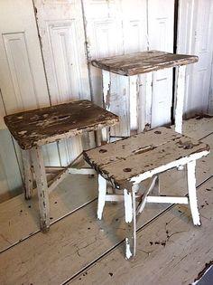 shabby white stools