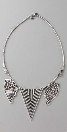House of Harlow chevron necklace in silver