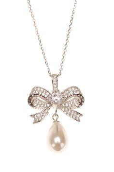 Silver & Co Zirconia & Drop Pearl Bowtie Necklace in White Gold Silver $44.99