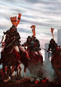 A scene from Kurosawa's 'Ran' - cavalry action during a castle assault.