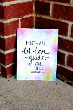 Items similar to Hand Lettered Print // Watercolor // Custom Bible Verse or Quote on Etsy Canvas Crafts, Diy Canvas, Canvas Art, Canvas Paintings, Canvas Ideas, Canvas Quotes, Love Quote Canvas, Quote Art, Art Quotes