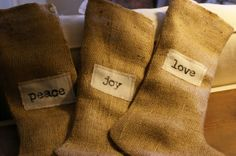 ORIGINAL Set of Three HandStamped Burlap by myadobecottage on Etsy