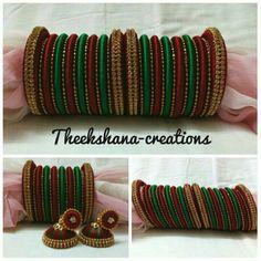 Silk Thread Bangles Design, Silk Bangles, Bridal Bangles, Thread Jewellery, Bridal Jewellery, Beaded Necklace Patterns, Jewelry Patterns, Bangle Set, Bangle Bracelets