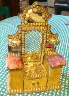 1800' Victorian Sailors Valentine Shell Art Pin cushion Dresser Box with Mirrors