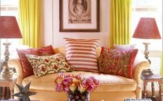A smorgasbord of colors and patterns makes this living room fun