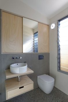 Islington House bathroom uses fiber cement sheet, plywood and an exposed aggregate concrete floor