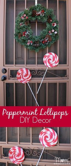 DIY Christmas Decor! These giant faux peppermint lollipops are easy to make & so cute for Christmas! Full tutorial via momendeavors.com