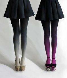 wedges tights black skirt ombre tights purple white now match it with the white house black market strapless top.