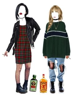 """Fireball n' Jägermeister"" by freia-larsson ❤ liked on Polyvore featuring UNIF, Moschino and Dogeared"