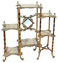 Bronze Etagere with Marble Shelves.
