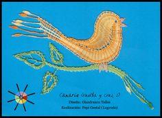 """""""Canario"""", de la revista de bolillos Vuelta y Cruz Nº1. --- """"Canary"""", from N.1 of Twist and Cross bobbin lace magazine."""