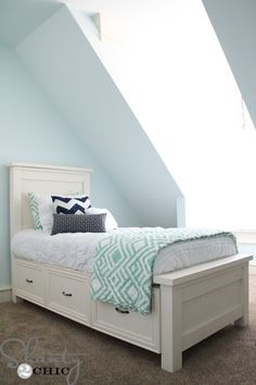 Happy Friday!!! I'm just going to cut to the chase and show you what I've been busy with! Ahhhh! I LOVE this bed! It's my daughters' big girl bed! I am seriously in LOVE with her room too. It's the smallest of the 3 kids rooms but it has so much character with the ceiling {...Read More...}