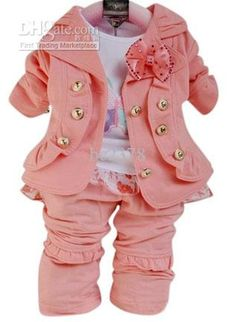 Three-piece Girls Suits Long Sleeves Suits Including Coat T-shirt Pants Children's Outfits amp; Set