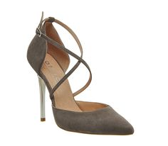 Buy Grey Kid Suede Office Trapped Strappy Point Court Heels from OFFICE.co.uk.