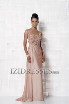 Sheath/Column V-neck Chiffon Mother of the Bride Dress - IZIDRESSES.COM