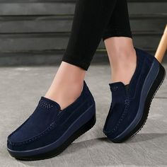 3dc6b1b33bc Women Loafers Slip On Platform Sneakers Comfort Suede Driving Moccasins  Shoes - Dark Blue - CR1882E4S86