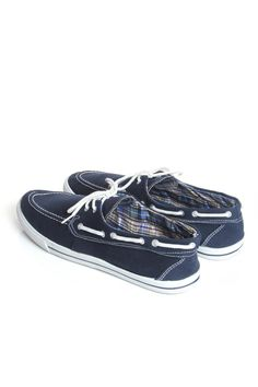 Navy Slim Canvas Boat Shoes, £20