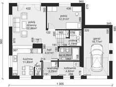 Projekt Dom przy Cyprysowej 10 130,37 m2 - koszt budowy - EXTRADOM Beautiful Small Homes, House Plans, Villa, Floor Plans, 1, How To Plan, Architecture, Houses, Two Story Houses