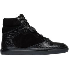68095bc36da526 Balenciaga Monochrome Alligator Print Sneakers Black ( 625) ❤ liked on  Polyvore featuring shoes