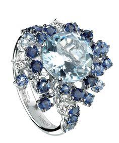 white gold, diamond, blue sapphire and aquamarine ring