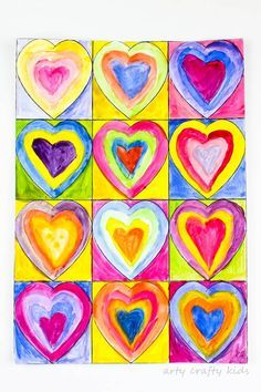 Kandinsky Inspired Heart Art -The perfect art project for exploring color-mixing, that doubles up as a cool kid-made gift for Valentine's Day & Mother's Day Valentines Art For Kids, Arte Elemental, Kandinsky Art, Kindergarten Art, Art Lessons Elementary, Crafty Kids, Art Abstrait, Art Classroom, Heart Art