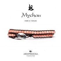 Mychau - Bracciale Vietnam originale realizzato con Corallo Bamboo Rosa naturale su base bracciale col. Testa di Moro