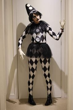 Femme mime costume femmes French Street Artiste Cirque Clown Fancy Dress Outfit