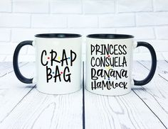 Princess Consuela Banana Hammock and Crap Bag Mug Set - Mr and Mr, His and Hers, Ross and Rachel, Monica and Chandler Friends Moments, Friends Series, Friends Tv Show, Friends Font, Monica And Chandler, Ross And Rachel, Bachelorette Party Planning, Friend Mugs, Friend Wedding