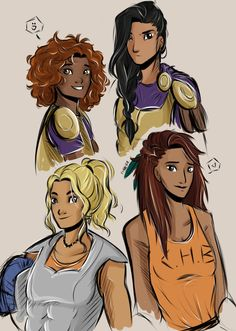 Hazel, Reyna, Piper, Annabeth Some of my favourite pjo girls u3u