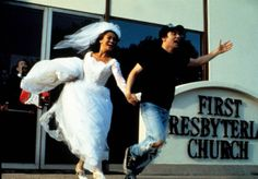 """When we asked our editors to share their favorite movie weddings, we envisioned their choices would include a lot of those """"and they lived happily ever after"""" type of affairs. 80 Tv Shows, Wayne's World, Wedding Movies, Sons Of Anarchy, Happily Ever After, Real Life, Vogue, Film, Wedding Dresses"""