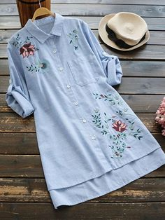 #SheIn - #SheIn Floral Embroidered Striped Dip Hem Side Split Shirt - AdoreWe.com Embroidery On Clothes, Embroidered Clothes, Embroidery Fashion, Kurti Designs Party Wear, Kurta Designs, Blouse Designs, Muslim Fashion, Hijab Fashion, Fashion Dresses