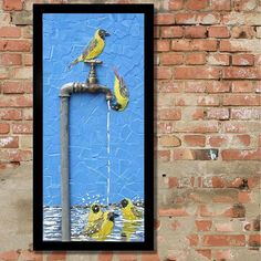 Another new mosaic in my popular dripping tap series... a flock of Southern Masked Weavers enjoying a dripping tap! This one left today for its new home in Zambia (45x95 cm).