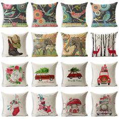Smavia nostalgia design retro style cushion covers 4545 cm christmas gift animals cotton linen cushion cover throw pillow case home decor gumiabroncs