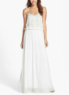 Love this ivory French Connection eyelet detail chiffon blouson maxi dress. It's perfect for a summer garden party.