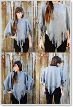 Diy Clothing, Sewing Clothes, Sewing Shirts, Do It Yourself Fashion, Wool Poncho, Fleece Poncho, Looks Plus Size, Wool Fabric, Refashion