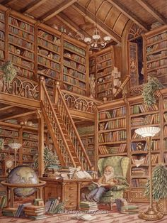 This is wallpaper!  Lots of books and no dusting required.