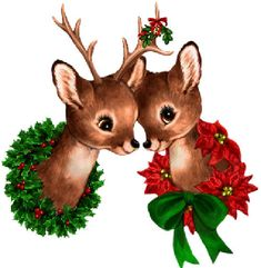 Noel images du Net - Page 7 Christmas Scenes, Christmas Deer, Christmas Clipart, Christmas Animals, Retro Christmas, Christmas Printables, Christmas Greetings, Christmas Crafts, Xmas