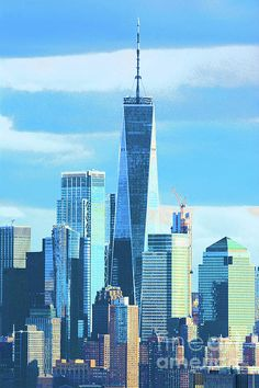 One World Trade Center (Freedom Tower) in shades of later afternoon blue. Prints available in a variety of sizes and formats, framed and unframed. Manhattan Skyline, Lower Manhattan, New York Skyline, One World Trade Center, Trade Centre, New York Architecture, Blue Artwork, Blue Prints, New York Central