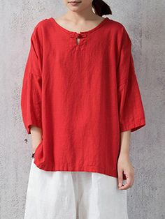 1fb0b0729fc4e S-5XL Women Casual Plate Buckle 3 4 Sleeve Blouses at Banggood Linen Blouse