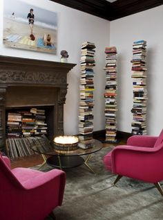 I like the albums & books in the fireplace ~ a problem if you want to use it though