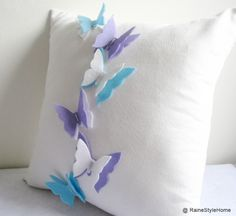 The Butterfly Effect White Pillow Cover Dreamy WonderlandFlyWings   SmilingCloud - Housewares on ArtFire