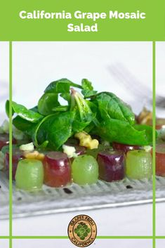 Here's a mosaic salad recipe with ingredients including sour cream, walnuts, green and red grapes from California, and more. #mosaicsalad #saladrecipes #saladrecipesvegetarian #grapesaladrecipe #grape #green #best #sourcream #walnuts #grapes #graperecipes Grape Recipes, Summer Recipes, Party Food To Make, Blue Cheese Vinaigrette, California Food, Make Ahead Appetizers, Vegetarian Salad Recipes, Red Grapes, Salad Ingredients