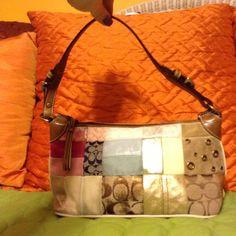 COACH patchwork shoulder bag (67) Authentic COACH patchwork shoulder bag. Blue inside. Brown leather finishes. AO5Q-2190 Coach Bags Shoulder Bags