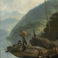 Boatmen Moored on the Shore of an Italian Lake, Adam Pijnacker, 1650 - 1670 - Landscapes - Works of art - Explore the collection - Rijksmuseum