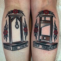 Hang In There & Keep Your Head Up by @josh_todaro at @thegrandillusiontattoo in Melbourne, Australia. #hanginthere #keepyourheadup #gallow #guillotine #joshtodaro #thegrandillusiontattoo #melbourne...