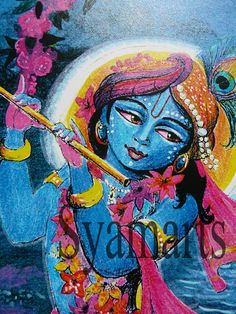 Full moon of the autumnal season, Krishna the stealer of hearts midnight blue hot pink fuscia holy cow home altars sacred space