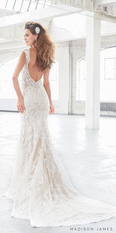 Madison James spring 2017 bridal sleeveless thick strap full embroidered lace elegant sexy sheath fit and flare wedding dress open low back chapel train (mj310) bv #wedding #bridal #weddingdress